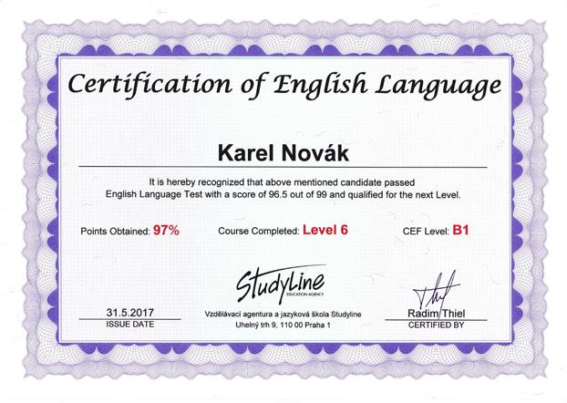 certifikát uspešně složeného závěrečného testu